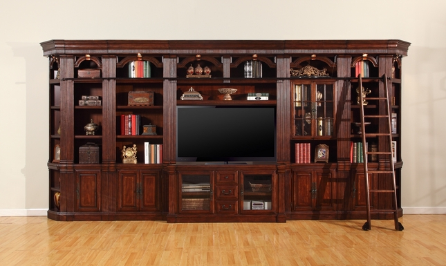 """Wellington Large Library With 60"""" Entertainment TV Wall Unit in Chestnut"""