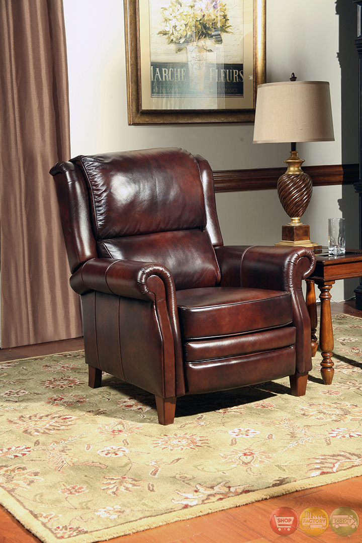 Camelot Traditional Reclining Arm Chair Brown Genuine