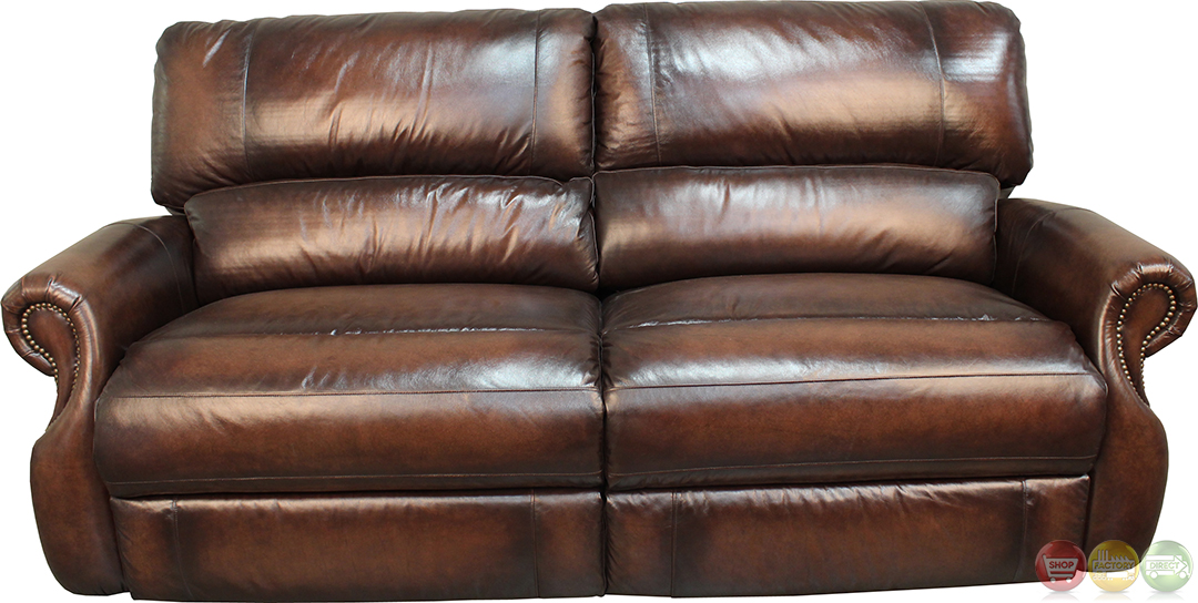Living Hawthorne Brown Leather Power Reclining Sofa Set MHAW 832P BR