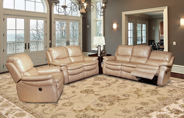 Parker Living Juno Sand Faux Leather Power Reclining Sofa Set MJUN#832P-SA