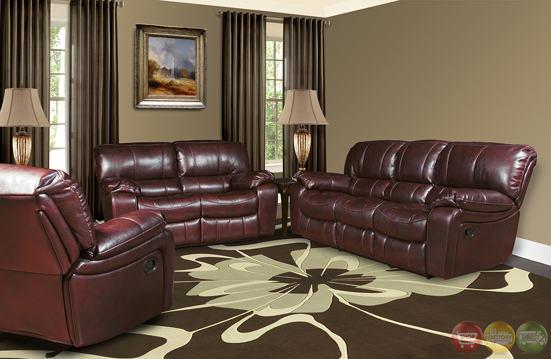 Parker Living Jupiter Black Cherry Leather Reclining Sofa