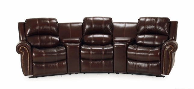 Parker Living Poseidon Brown Leather Theater Style Reclining Sectional