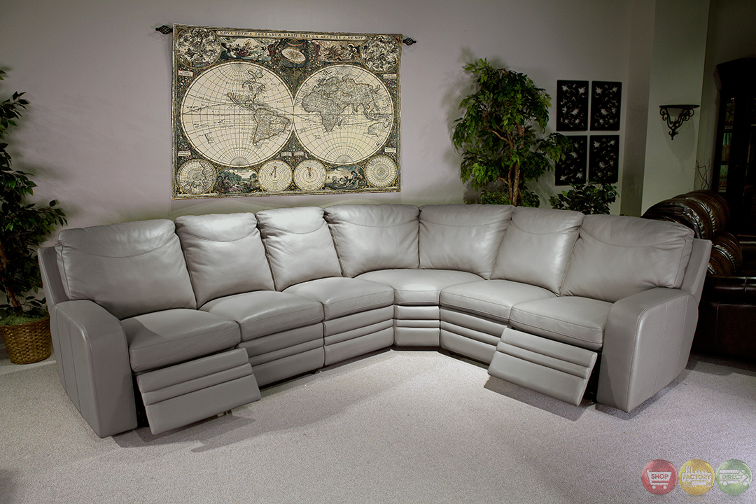Parker Living Steinbeck Gray Top Grain Leather Sectional