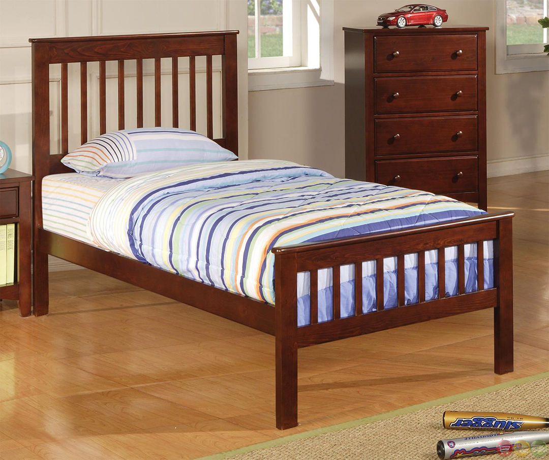 parker mission style brown cherry finish twin bedroom set