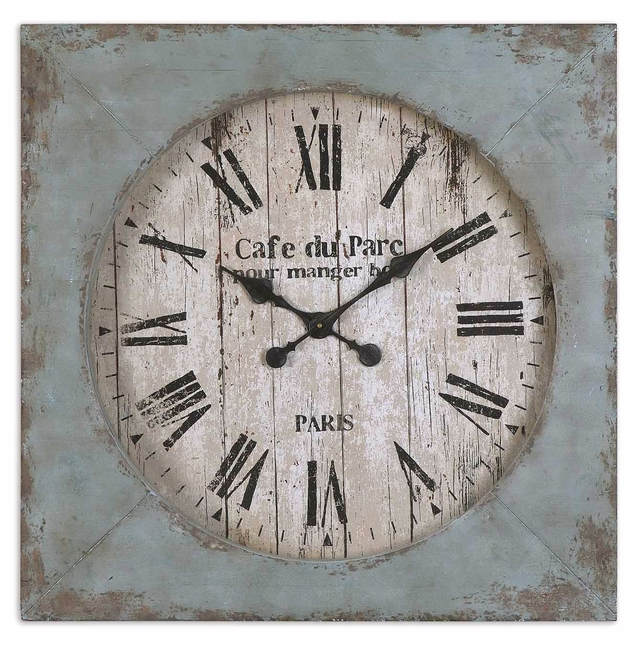 Paron Traditional Distressed Aged Blue Antiqued Face Square Wall Clock  6079
