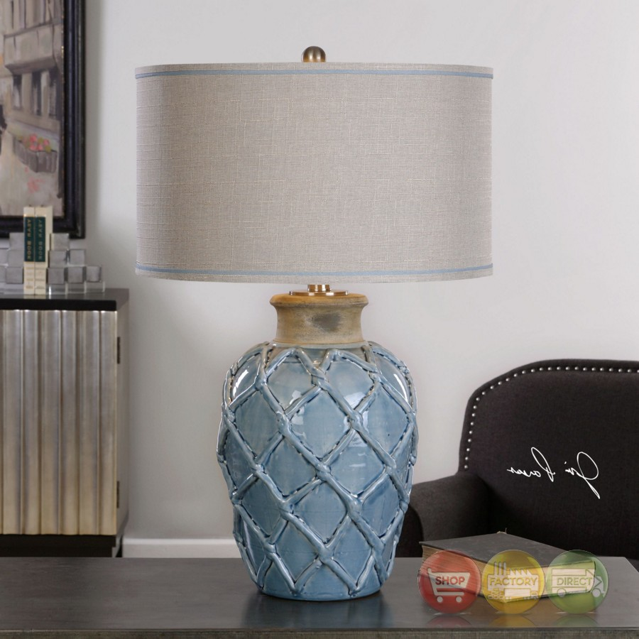 Style Pale Blue Ceramic Table Lamp With Round Beige Linen Shade