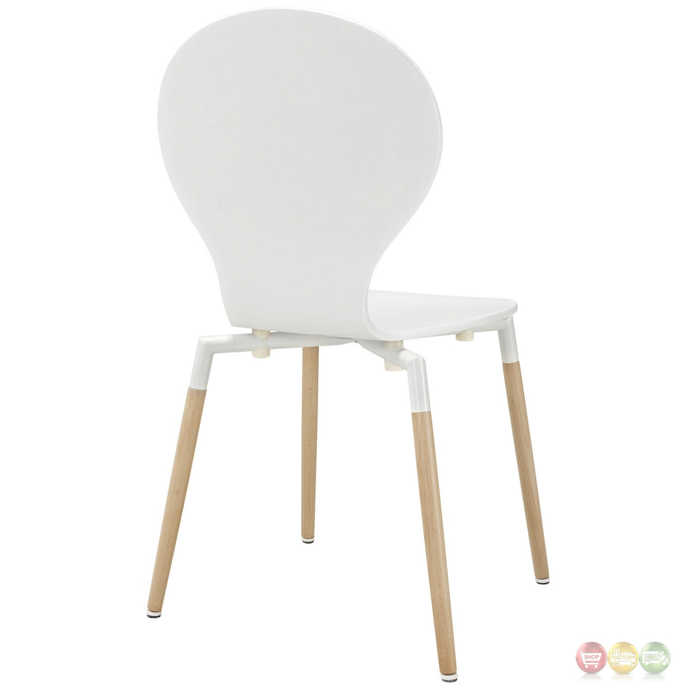 Path Stylish Contemporary Wood Dining Side Chair, White