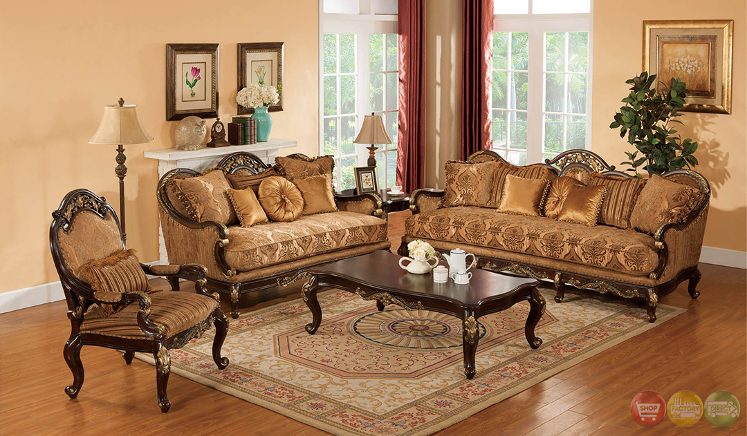 Patricia Dark Wood Formal Living Room Sets With Carved Accents RPCMO87