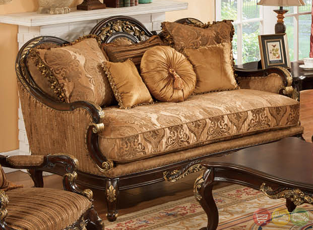 patricia traditional dark wood formal living room sets with carved
