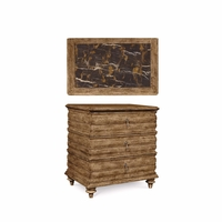 Pavilion 3-Drawer Carved Coastal Bedside Chest in Barley Finish