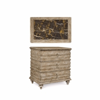 Pavilion 3-Drawer Carved Coastal Bedside Chest in Gypsum Finish