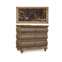 Pavilion 3-Drawer Metallic Paper Accent Chest With Marble Top