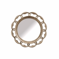 "Pavilion Carved Round Mirror with Coastal Gypsum Finish, 44""x44"""