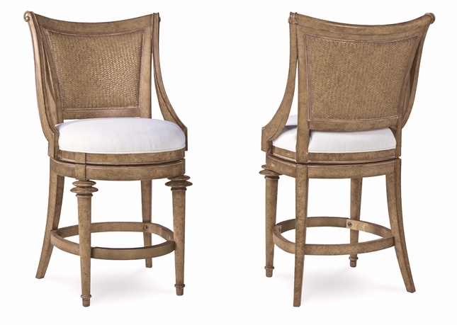 Pavilion Coastal Counter Height Swivel Stool With Woven Back