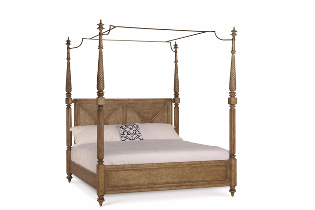 Pavilion Coastal King Canopy Bed In Pine Barley Finish