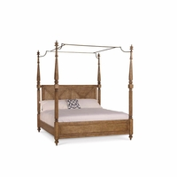 Pavilion Coastal Queen Canopy Bed In Pine Barley Finish