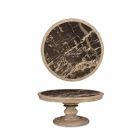 Pavilion Marble Topped Round Cocktail Table With Costal Gypsum Finish