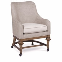 Pavilion Rolling Party Accent Chair In Neutral Woven Beige