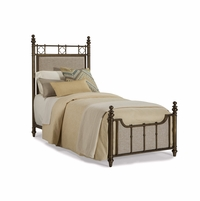 Pavilion Twin Antique Brass Frame Bed With Upholstered Head/foot Board