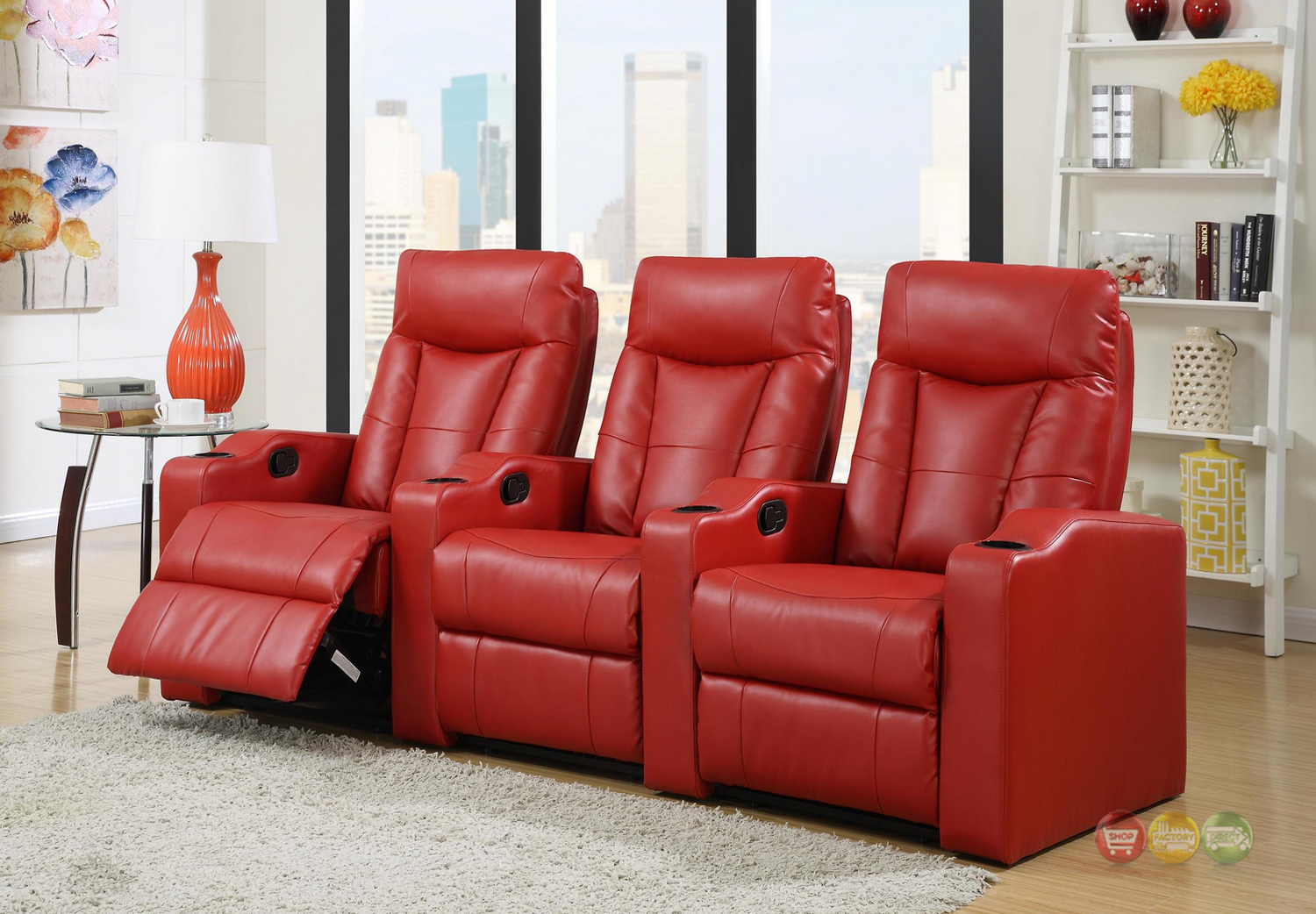 Red Bonded Leather Home Theater Seating Row Of 3 Seats W