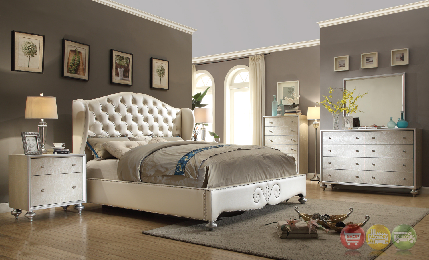 glamorous pearl white button tufted wing back bed faux
