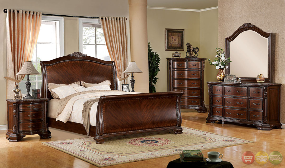 baroque brown cherry sleigh bedroom set ornate accents cm7270