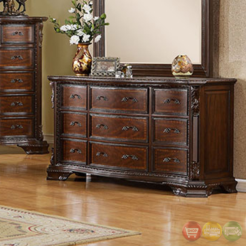 Bellefonte Baroque Brown Cherry Sleigh Bedroom Set W Intricate Accent