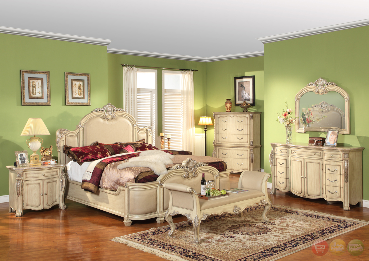 Penelope Antique White Traditional Bedroom Furniture Collection