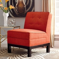 Persimmon Orange Button Tufted Armless Accent Chair with Cappuccino Legs