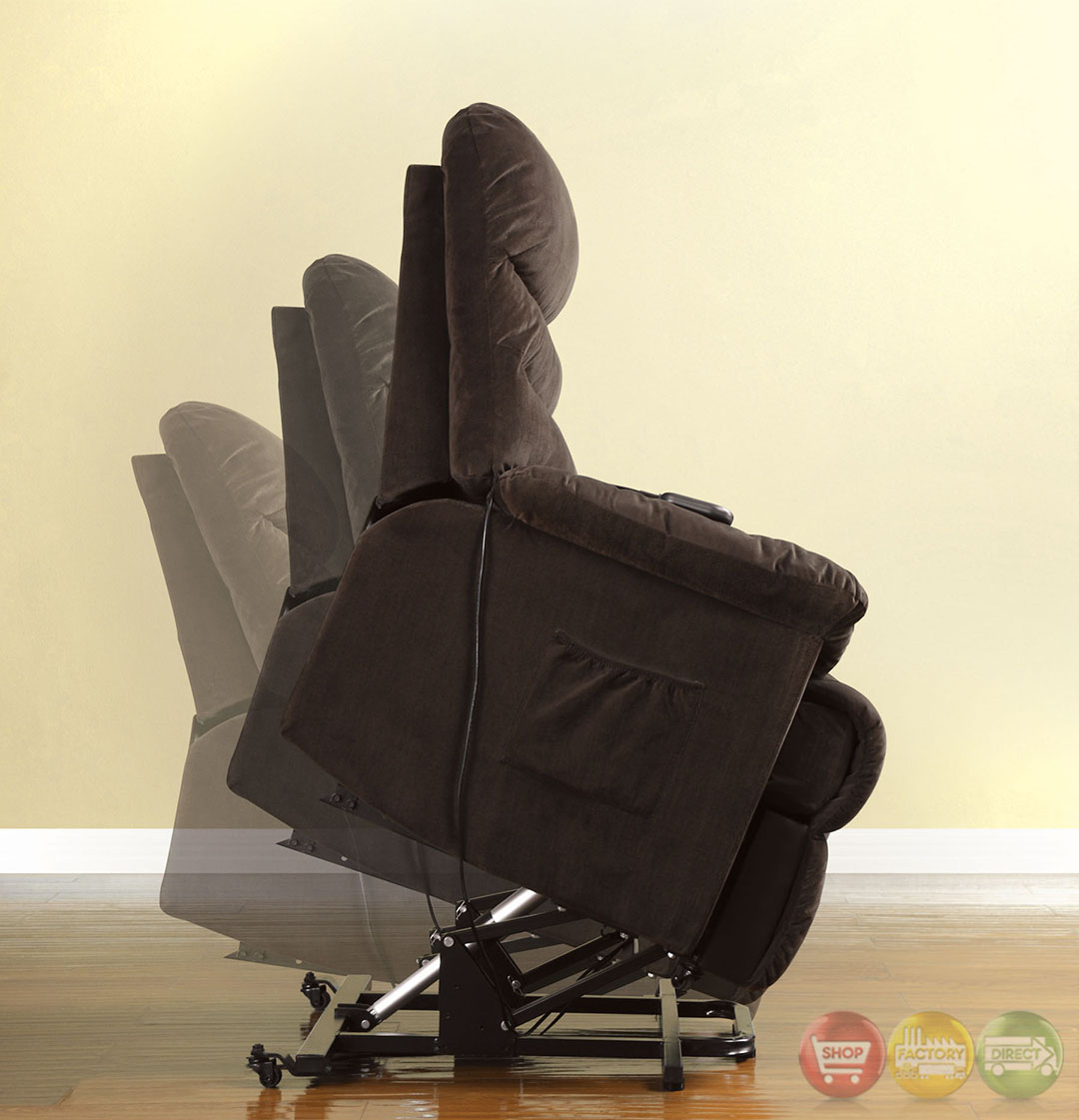 Perth Cocoa Brown Recliner Chair with Stand assist Power