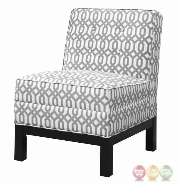 Pewter And White Armless Accent Chair With Cappuccino