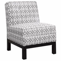Pewter and White Armless Accent Chair with Cappuccino Legs