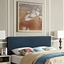 Phoebe Square King Fabric Headboard With Silver Nailheads, Azure
