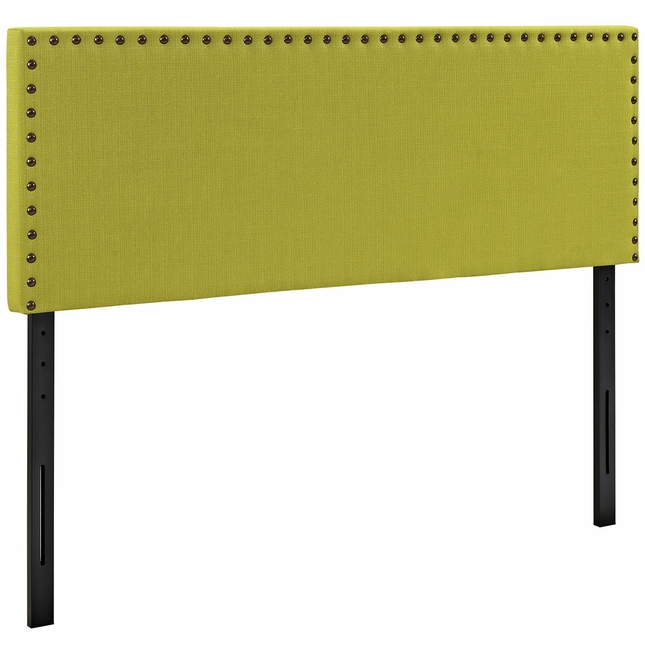 Phoebe Square King Fabric Headboard With Silver Nailheads, Wheatgrass