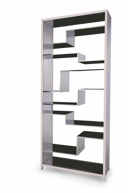 Pietro Futuristic Stainless Steel Display Bookcase with Open Shelving