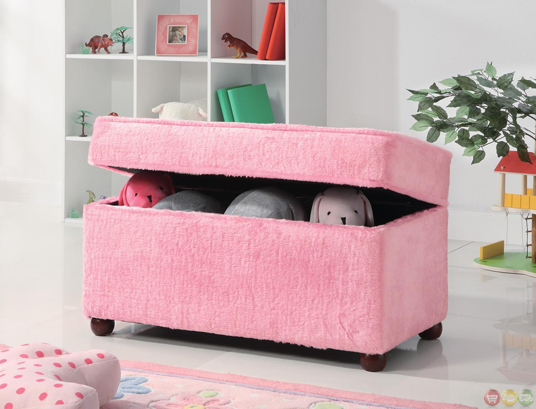 Pink Fuzzy Upholstery Girls Bedroom Toy Storage Bench