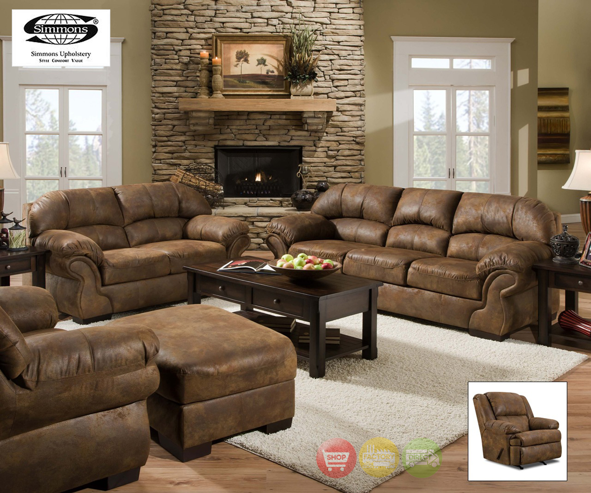 Pinto Tobacco Finish Microfiber Living Room Sofa and Loveseat Set