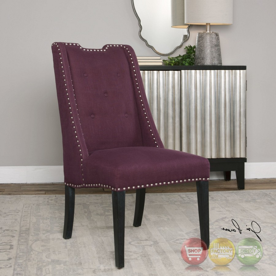 Pippa Eggplant Purple Wingback Chair With Button Tufted