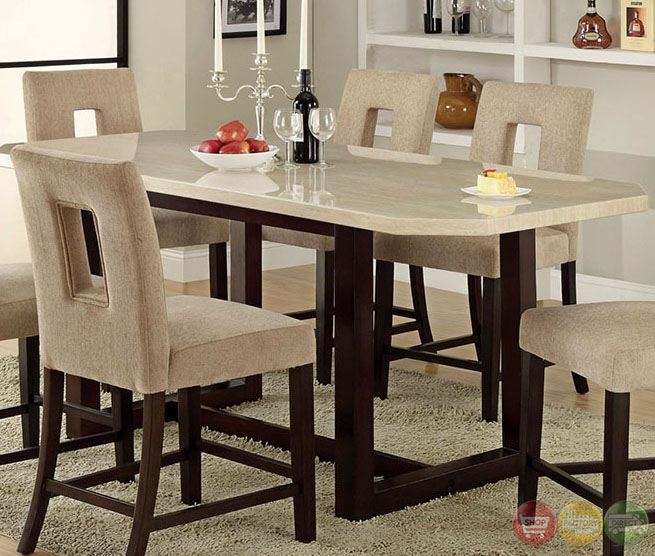 Counter Height Dining Set : ... Espresso Counter Height Dining Set with Padded Fabric Seat CM3426