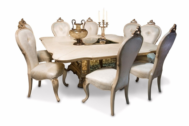 """Platine De Royal 5-pc French 84"""" Square Dining Table Set In Champagne"""