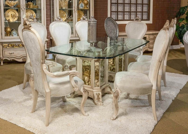 "Platine De Royal 5-pc French Provincial 102"" Glass Top Dining Table Set"