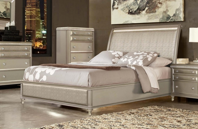 Platinum Silver Contemporary Faux Croc Leather King Panel Bed
