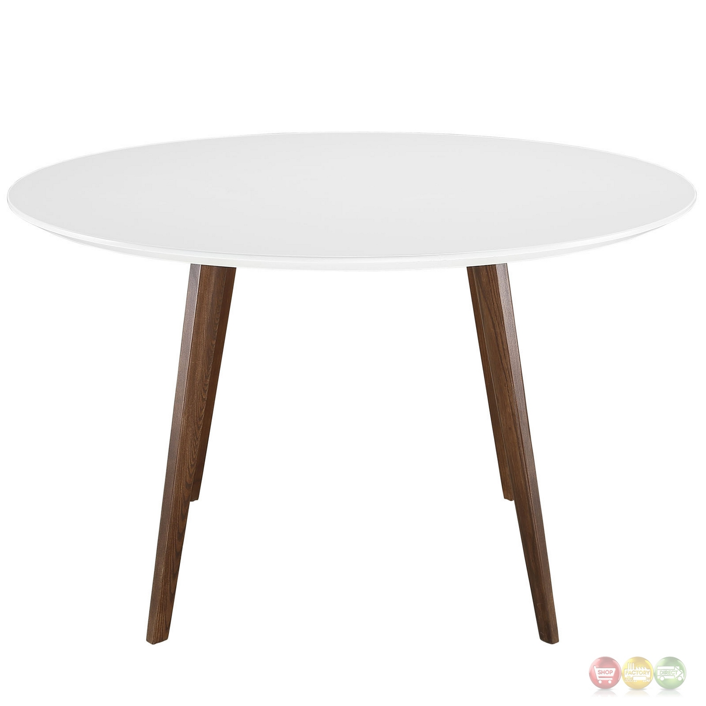 Platter Contemporary 47 Round Wood Dining Table White