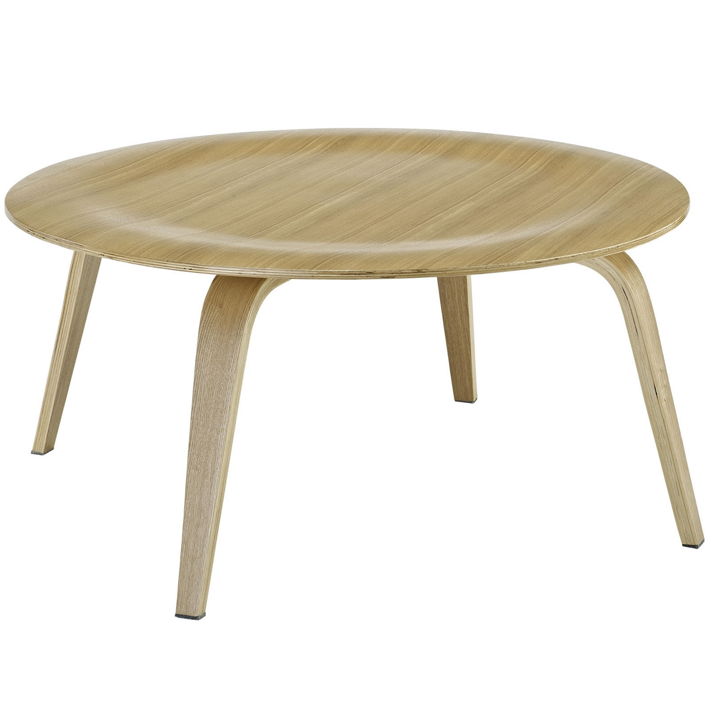 Modern Round Wooden Coffee Table 110: Plywood Modern Wood Grain Panel Round Coffee Table, Natural