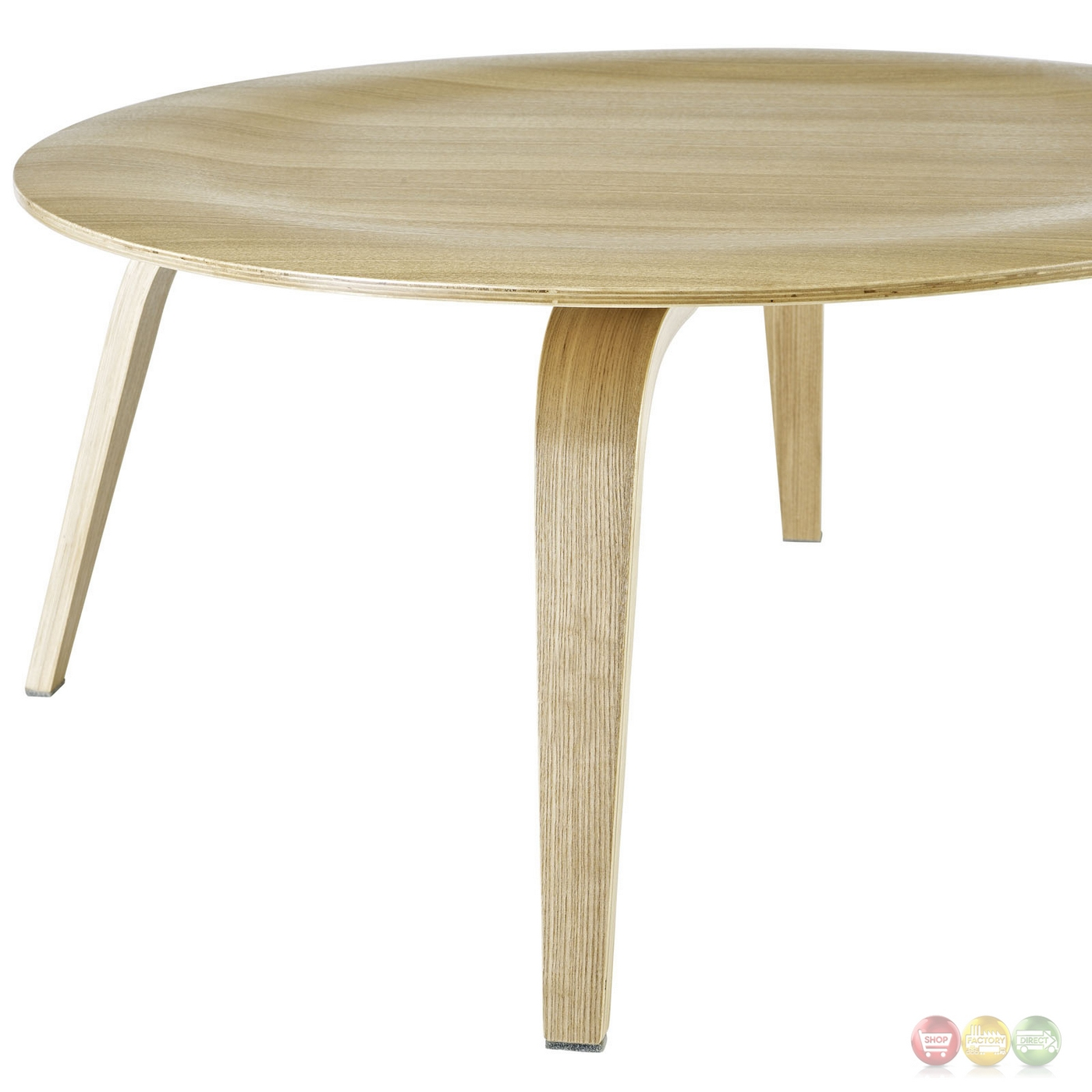 Modern Wood Coffee Table: Plywood Modern Wood Grain Panel Round Coffee Table, Natural