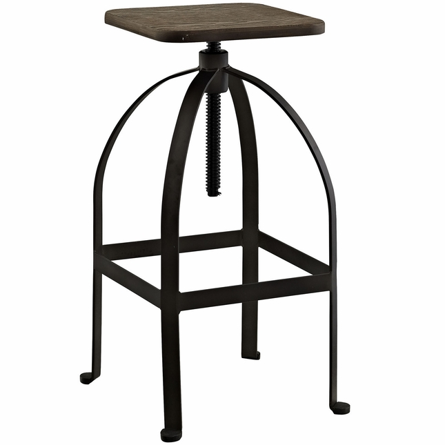 Pointe Rustic Industrial Square Bar Stool With Bamboo Seat, Brown