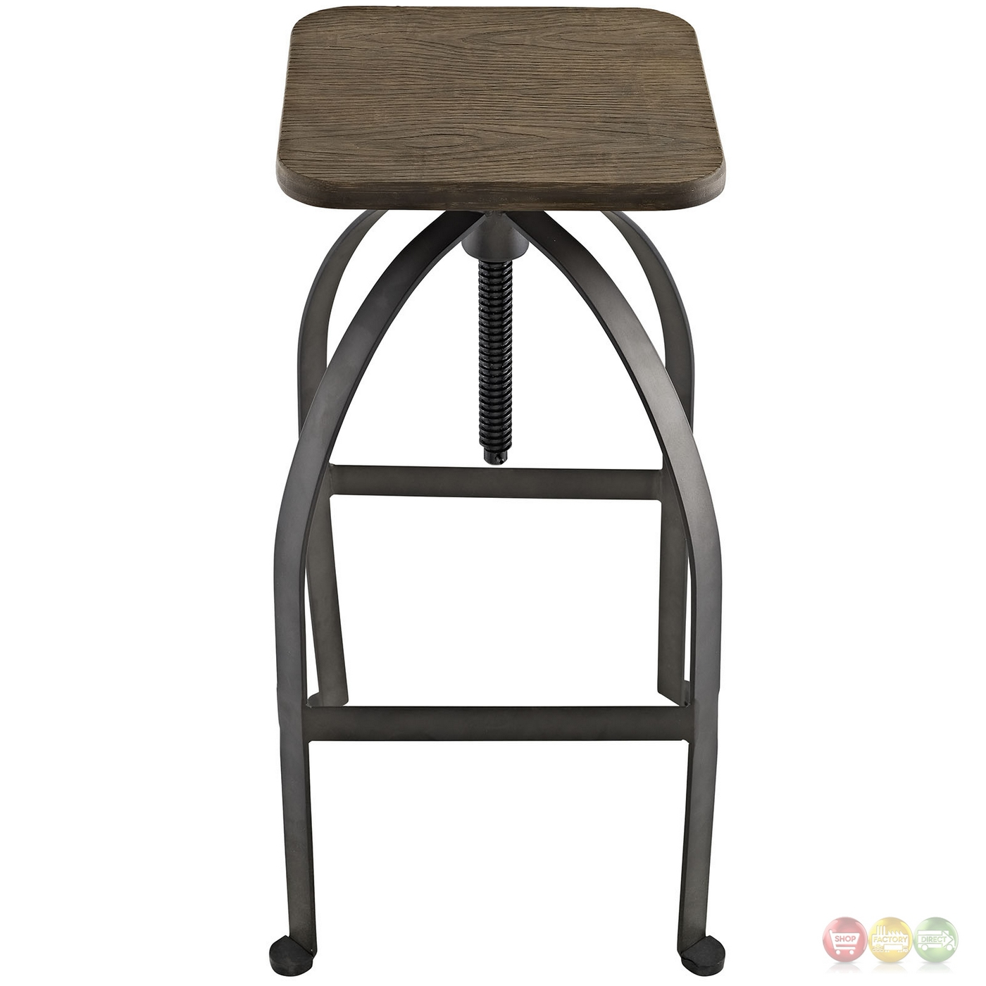Pointe Rustic Industrial Square Bar Stool With Bamboo Seat