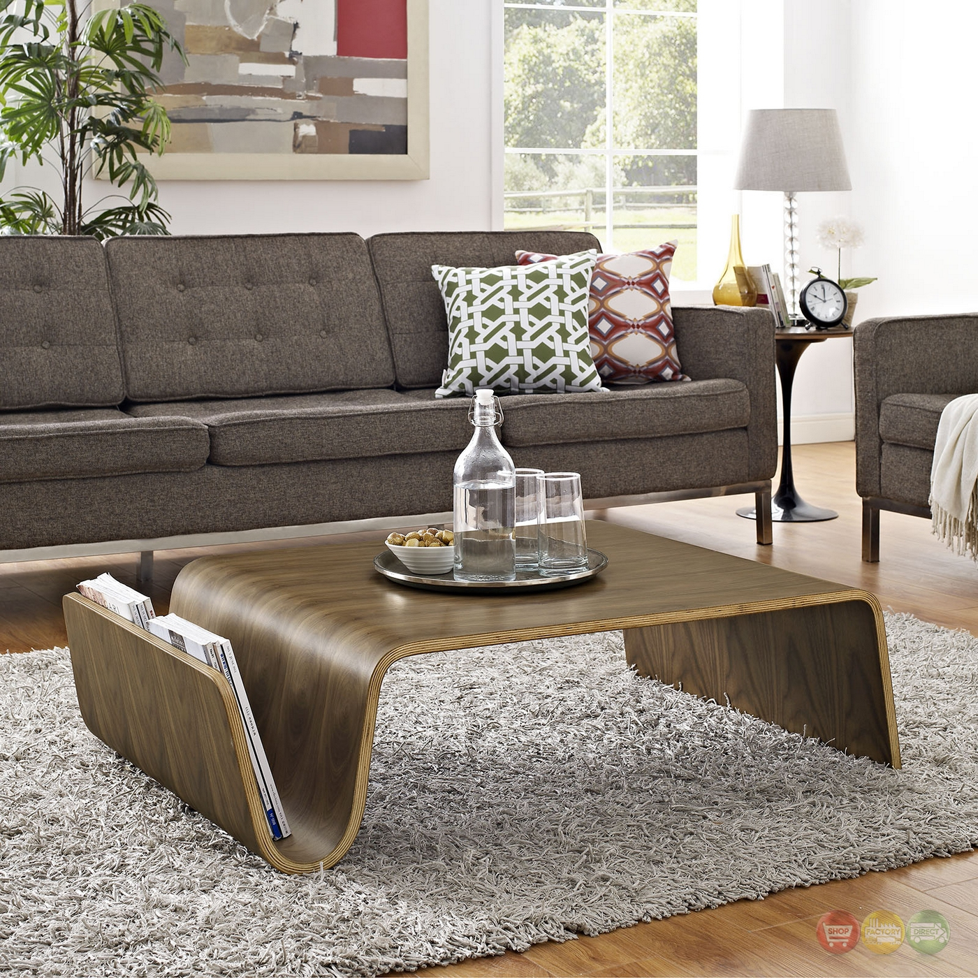 Modern Wood Coffee Table: Polaris Contemporary Wood Coffee Table With Magazine