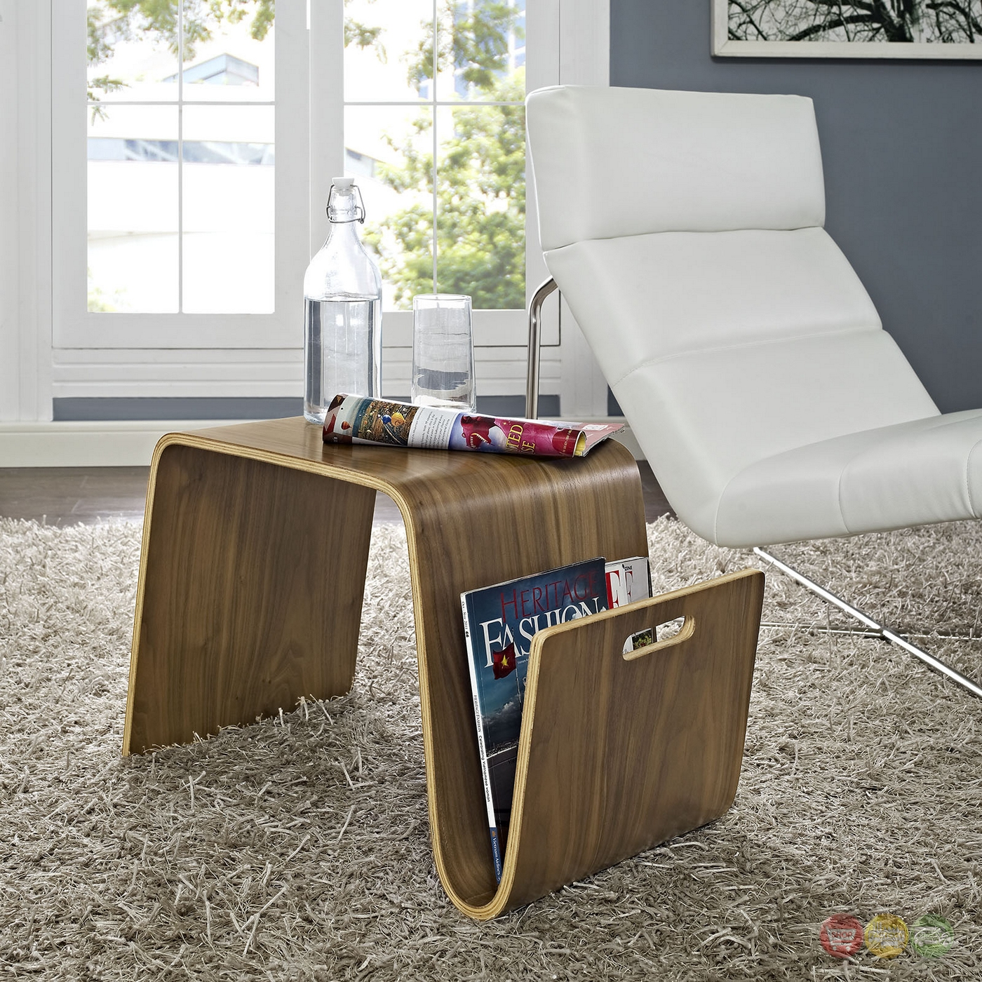 Wonderful image of Polaris Contemporary Wood Side Table With Magazine Holder Walnut with #5F4A35 color and 1400x1400 pixels