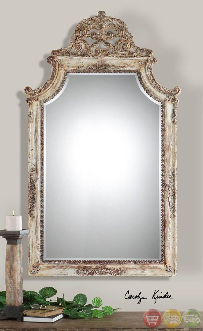 Portici Heavily Antiqued Ivory Arched Mirror